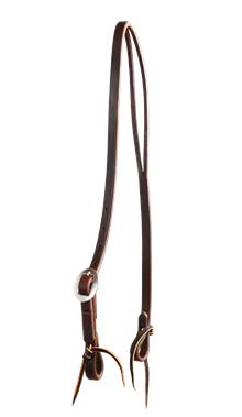 Single Buckle Oiled Harness Leather Slot Ear Headstall w SS Conchos